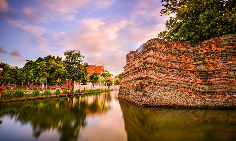 Chiang Mai City Moat, Thailand old city ancient wall and moat.